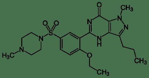 Formule développée de Sildenafil – Molécule active du Viagra