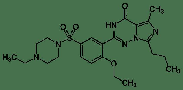 Formule développée de Vardénafil - Molécule active du Levitra