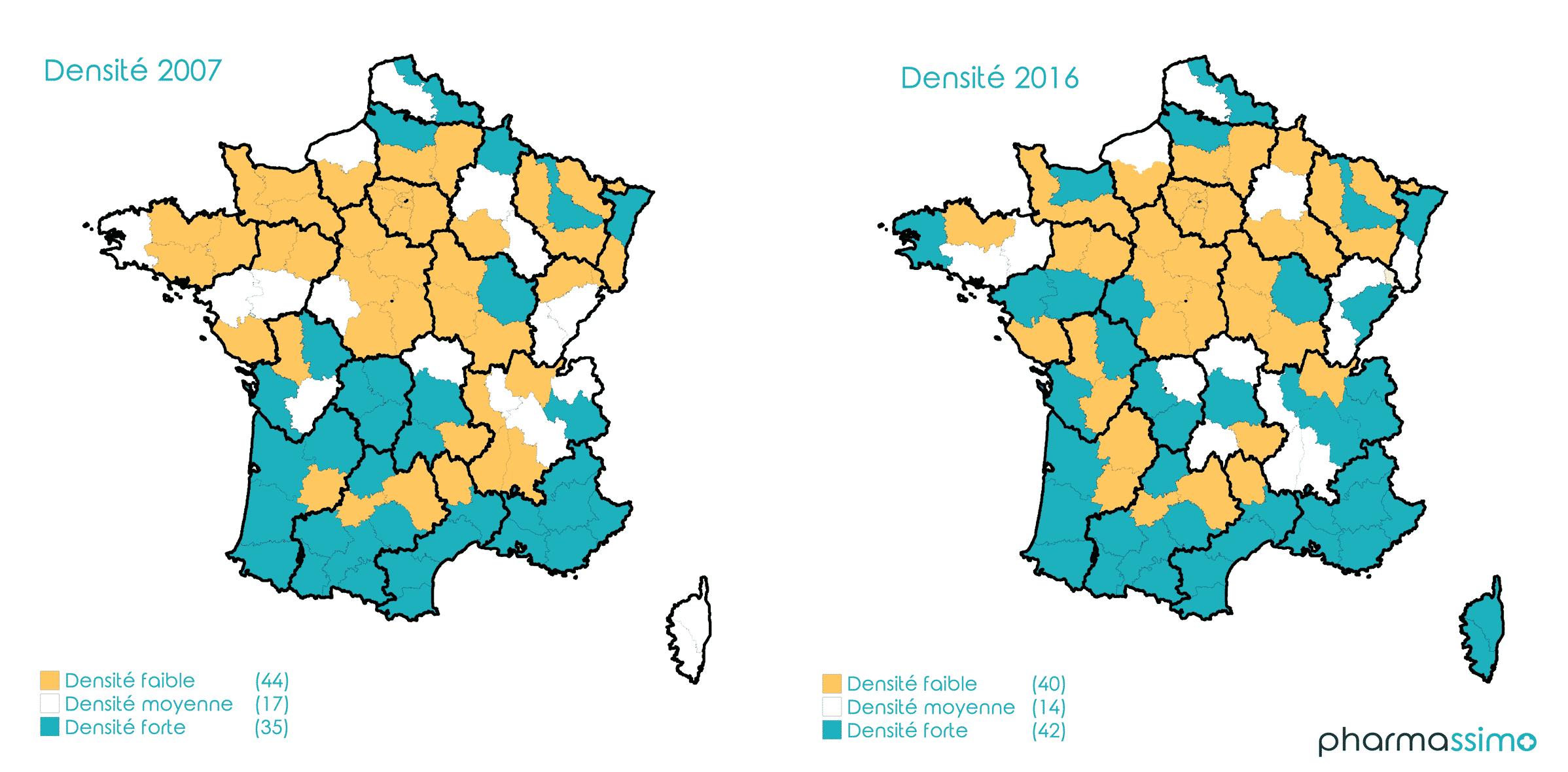 Densité médecins par département français | Pharmassimo